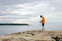 Boy videotaping Stock Photos