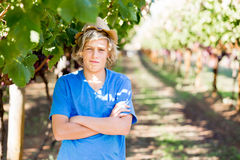 Boy in vineyard Royalty Free Stock Images