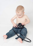 Boy with vintage camera Royalty Free Stock Photos