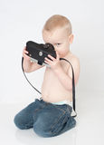 Boy with vintage camera Royalty Free Stock Photo