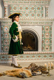 Boy in vintage costume Stock Images