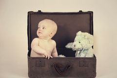 Boy in Vintage Suitcase Stock Images