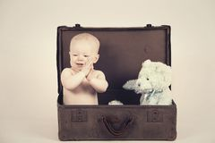 Boy in Vintage Suitcase Royalty Free Stock Photos