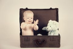 Boy in Vintage Suitcase Royalty Free Stock Image
