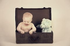 Boy in Vintage Suitcase Stock Photography