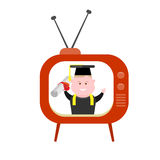 Boy and vintage tv Stock Images
