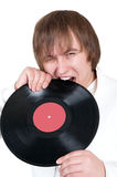 Boy and vinyl Royalty Free Stock Images