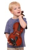 Boy with violin Stock Images