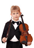 Boy with violin posing Royalty Free Stock Photo