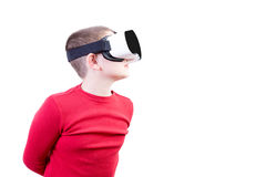 Boy with virtual reality glasses peers left Royalty Free Stock Image