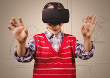 Boy in virtual reality headset against cream hand drawn office Stock Images
