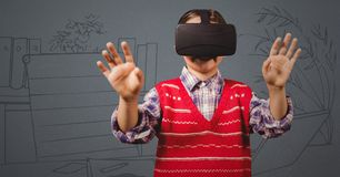 Boy in virtual reality headset against grey hand drawn office Stock Images