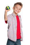 Boy with volleyball ball stock photography