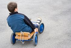Boy w/ Cart Stock Photo