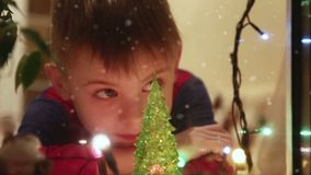 Boy wait for christmas stock video footage