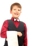 Boy waiter in red Stock Images