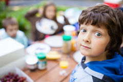 Boy waiting for breakfast Royalty Free Stock Photography