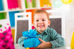 Boy waiting for friends to come to the birthday party Stock Photo
