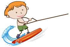 A Boy Wakeboarding on White Background stock illustration