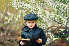 Boy on a walk in the garden in the spring royalty free stock image