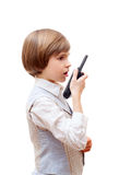 Boy with a walkie-talkie Royalty Free Stock Images