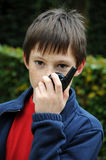 Boy with walkie talkie Stock Images