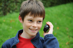 Boy with walkie talkie Stock Image