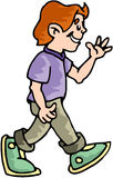 Boy Walking. Cartoon artwork line-art stock illustration