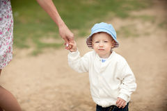 The boy walking Royalty Free Stock Photo