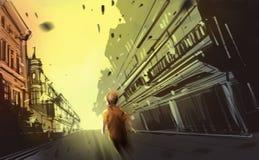 A boy walking in abandon town, digital illustration art painting. Design style royalty free illustration