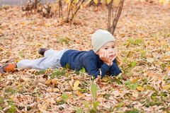 Boy walking in autumnal park Stock Photography