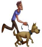 Boy walking with dog Stock Image