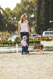 Boy is walking the dog. Little boy is walking the beagle dog with his mom royalty free stock photo