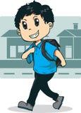 Boy walking go to school. Vector illustration of boy walking to his school Stock Photo