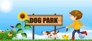 Boy walking his dog at dog park stock illustration