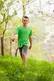 Boy walking outdoor Royalty Free Stock Images