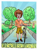 Boy walking in the park with bike. Illustration of Boy walking in the park with bike Royalty Free Stock Photography