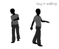 Boy in walking pose on white background Stock Images