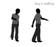 Boy in walking pose on white background Royalty Free Stock Images