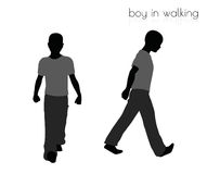 Boy in walking pose on white background Royalty Free Stock Photography