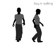 Boy in walking pose on white background Stock Photography