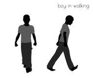 Boy in walking pose on white background Royalty Free Stock Photo