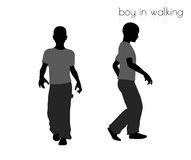 Boy in walking pose on white background Stock Image