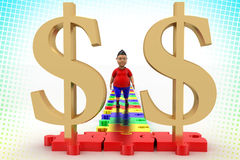 Boy Walking Towards Dollar Symbols In Halftone Stock Photography
