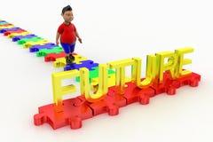 Boy Walking Towards Future Text Royalty Free Stock Photography