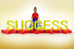 Boy Walking Towards Success Text In Halftone Stock Photography