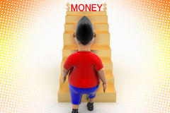 Boy Walking Up Money Stairs In Halftone Royalty Free Stock Images