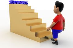 Boy Walking Up Success Stairs Stock Images