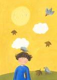 The boy walks at autumn in park. Acrylic illustration of boy walks at autumn in park Royalty Free Stock Photos