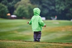 The boy walks the golf course. Back view of the boy walking the golf course Stock Images